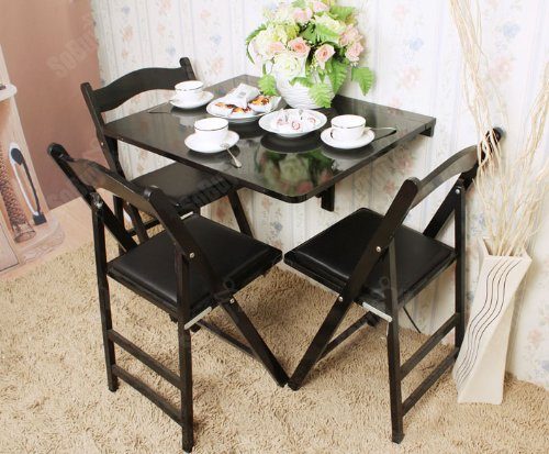 Free table pliante de cuisine noire en bois with table for Table pliante gain de place